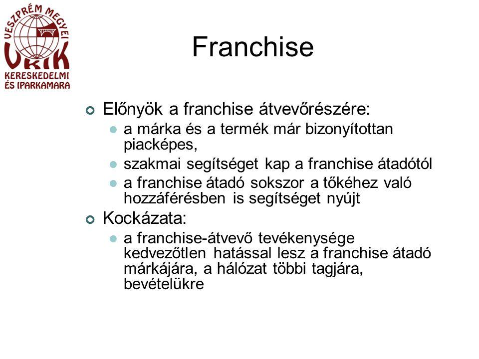 Franchise Előnyök a franchise átvevőrészére: a márka és a termék már bizonyítottan piacképes, szakmai segítséget kap a franchise átadótól a franchise átadó sokszor a tőkéhez való hozzáférésben is segítséget nyújt Kockázata: a franchise-átvevő tevékenysége kedvezőtlen hatással lesz a franchise átadó márkájára, a hálózat többi tagjára, bevételükre