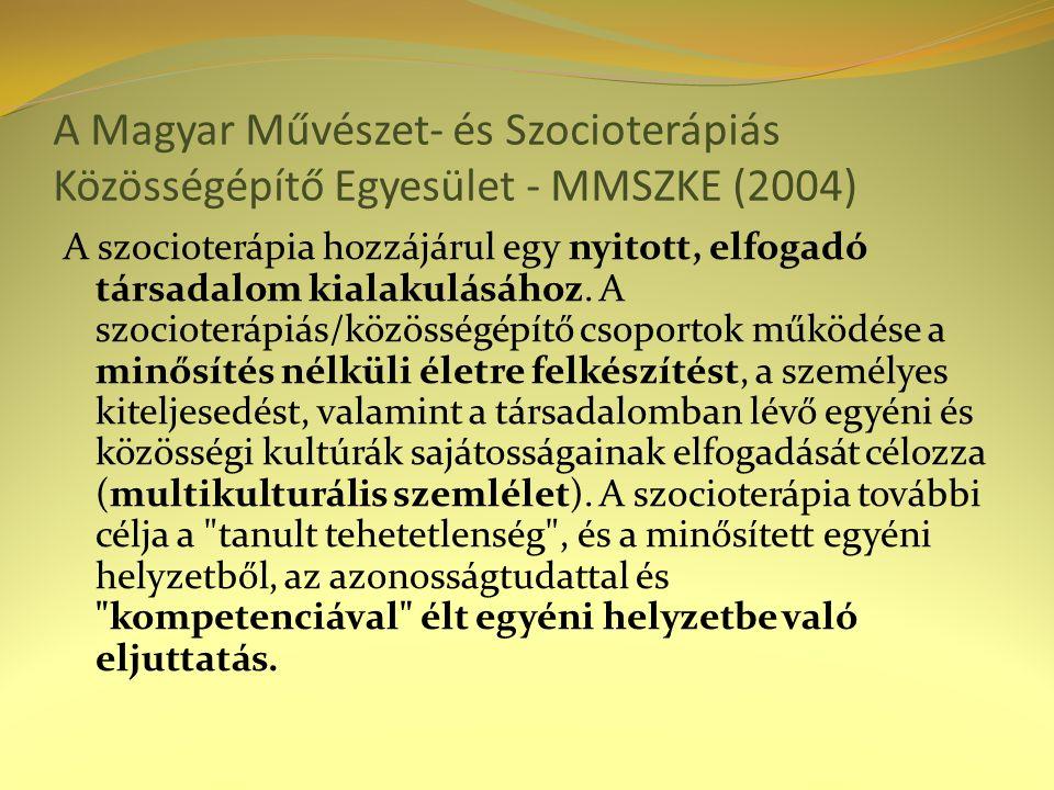 A Magyar Művészet- és Szocioterápiás Közösségépítő Egyesület - MMSZKE (2004) A szocioterápia hozzájárul egy nyitott, elfogadó társadalom kialakulásáho