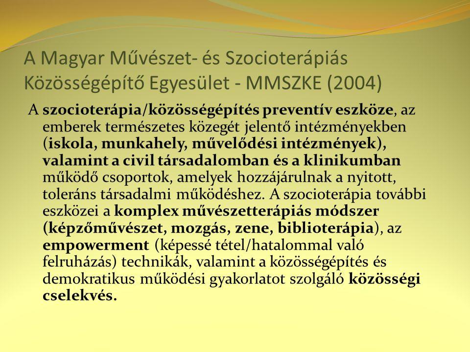 A Magyar Művészet- és Szocioterápiás Közösségépítő Egyesület - MMSZKE (2004) A szocioterápia/közösségépítés preventív eszköze, az emberek természetes közegét jelentő intézményekben (iskola, munkahely, művelődési intézmények), valamint a civil társadalomban és a klinikumban működő csoportok, amelyek hozzájárulnak a nyitott, toleráns társadalmi működéshez.