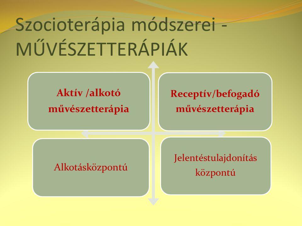 Szocioterápia módszerei - MŰVÉSZETTERÁPIÁK Aktív /alkotó művészetterápia Receptív/befogadó művészetterápia Alkotásközpontú Jelentéstulajdonítás központú