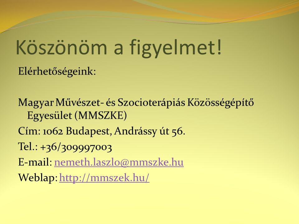 Köszönöm a figyelmet! Elérhetőségeink: Magyar Művészet- és Szocioterápiás Közösségépítő Egyesület (MMSZKE) Cím: 1062 Budapest, Andrássy út 56. Tel.: +