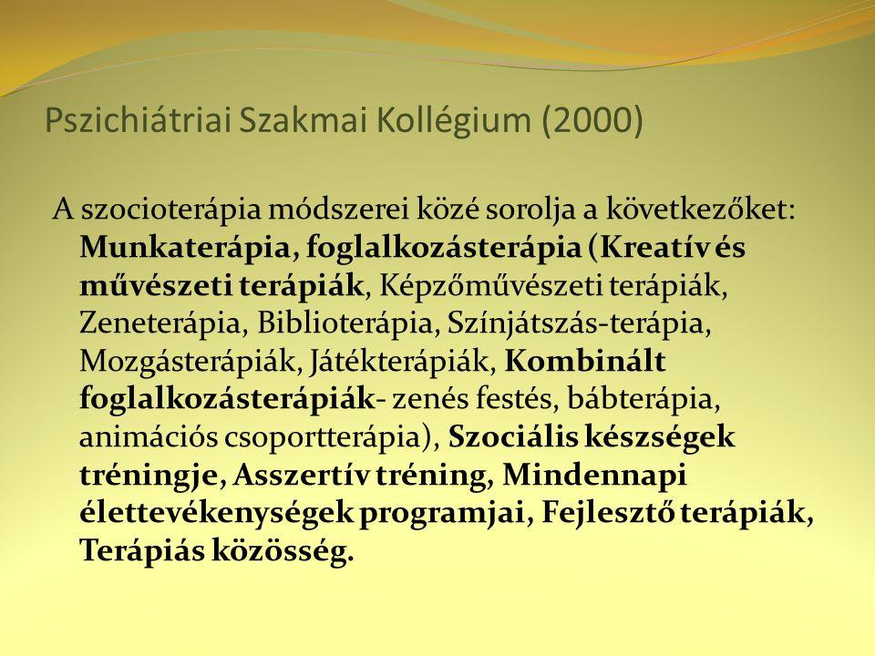 Pszichiátriai Szakmai Kollégium (2000) A szocioterápia módszerei közé sorolja a következőket: Munkaterápia, foglalkozásterápia (Kreatív és művészeti terápiák, Képzőművészeti terápiák, Zeneterápia, Biblioterápia, Színjátszás-terápia, Mozgásterápiák, Játékterápiák, Kombinált foglalkozásterápiák- zenés festés, bábterápia, animációs csoportterápia), Szociális készségek tréningje, Asszertív tréning, Mindennapi élettevékenységek programjai, Fejlesztő terápiák, Terápiás közösség.