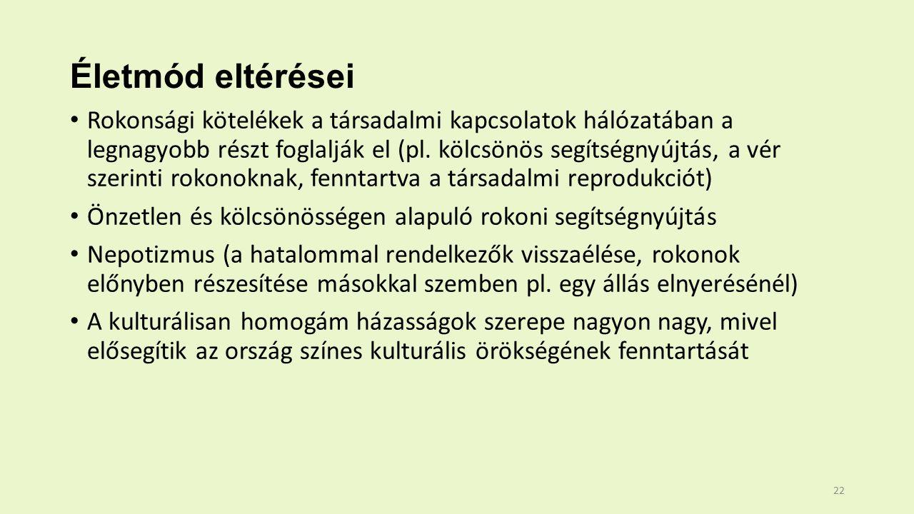 Életmód eltérései Rokonsági kötelékek a társadalmi kapcsolatok hálózatában a legnagyobb részt foglalják el (pl.