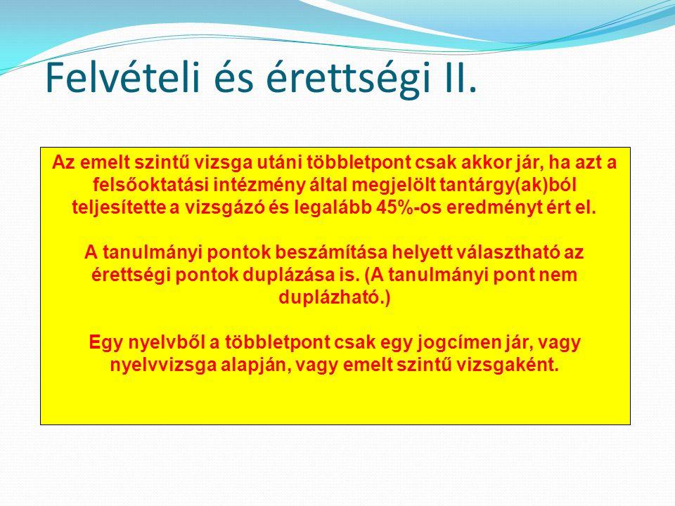 Felvételi és érettségi II.