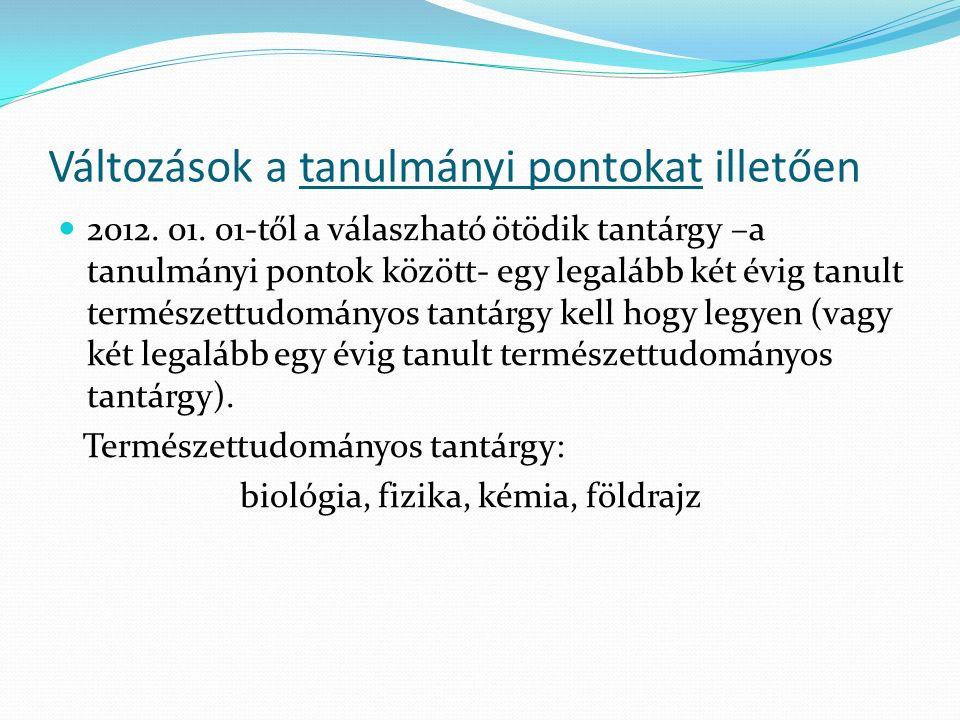 Változások a tanulmányi pontokat illetően 2012. 01.