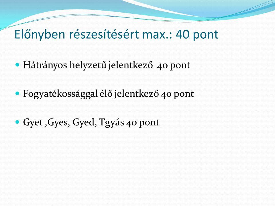 Előnyben részesítésért max.: 40 pont Hátrányos helyzetű jelentkező 40 pont Fogyatékossággal élő jelentkező 40 pont Gyet,Gyes, Gyed, Tgyás 40 pont