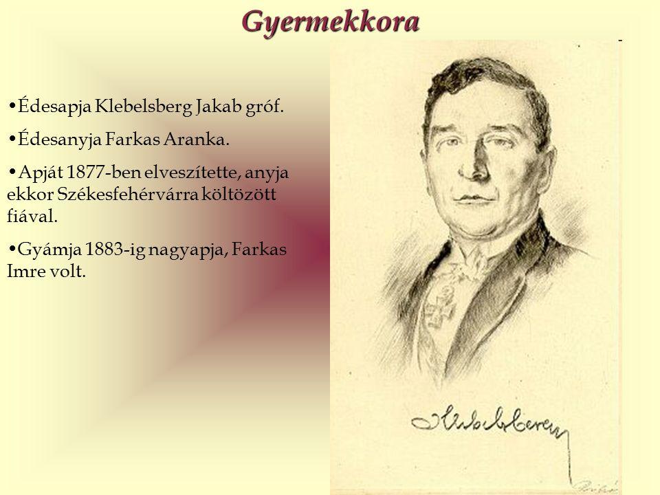 Gyermekkora Édesapja Klebelsberg Jakab gróf. Édesanyja Farkas Aranka.