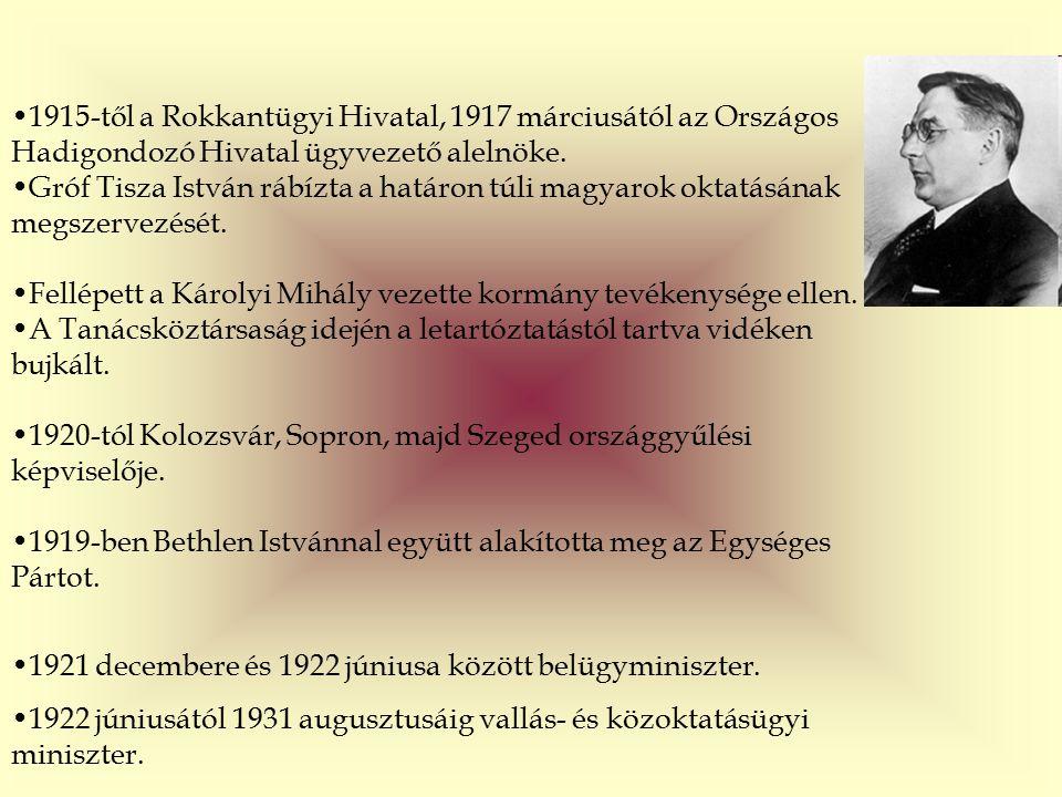 1915-től a Rokkantügyi Hivatal, 1917 márciusától az Országos Hadigondozó Hivatal ügyvezető alelnöke.