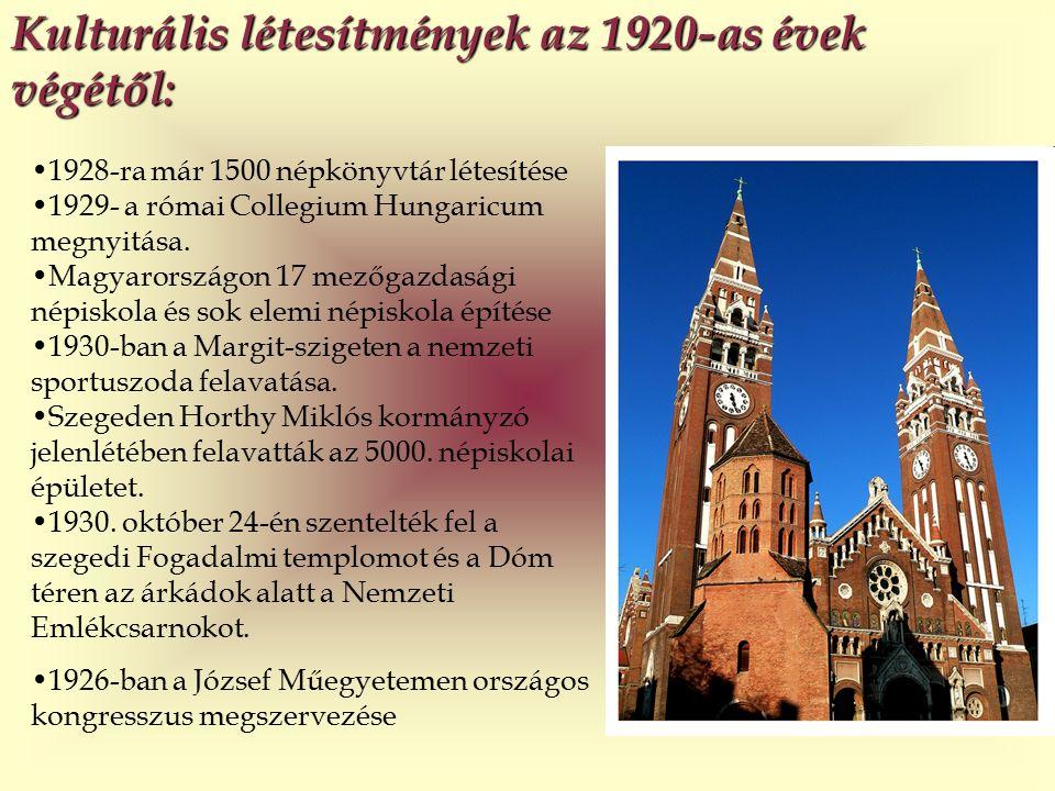 Kulturális létesítmények az 1920-as évek végétől: 1928-ra már 1500 népkönyvtár létesítése 1929- a római Collegium Hungaricum megnyitása.