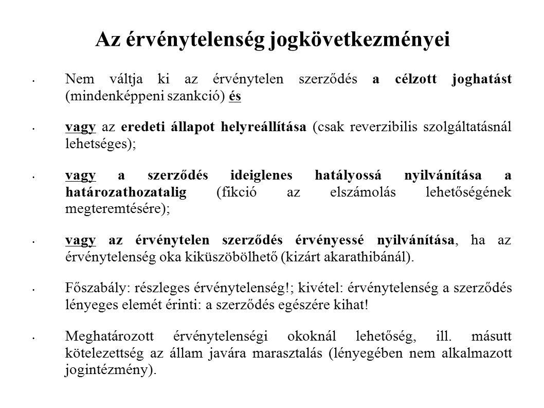 Az érvénytelenség jogkövetkezményei Nem váltja ki az érvénytelen szerződés a célzott joghatást (mindenképpeni szankció) és vagy az eredeti állapot helyreállítása (csak reverzibilis szolgáltatásnál lehetséges); vagy a szerződés ideiglenes hatályossá nyilvánítása a határozathozatalig (fikció az elszámolás lehetőségének megteremtésére); vagy az érvénytelen szerződés érvényessé nyilvánítása, ha az érvénytelenség oka kiküszöbölhető (kizárt akarathibánál).