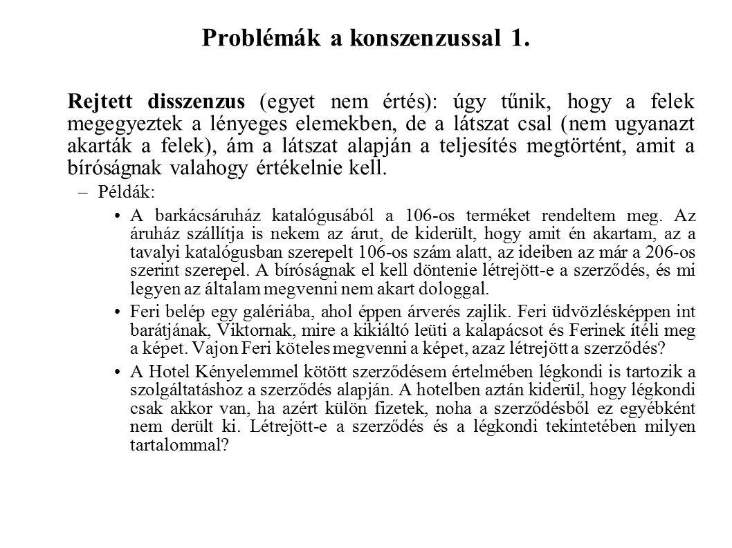 Problémák a konszenzussal 1.