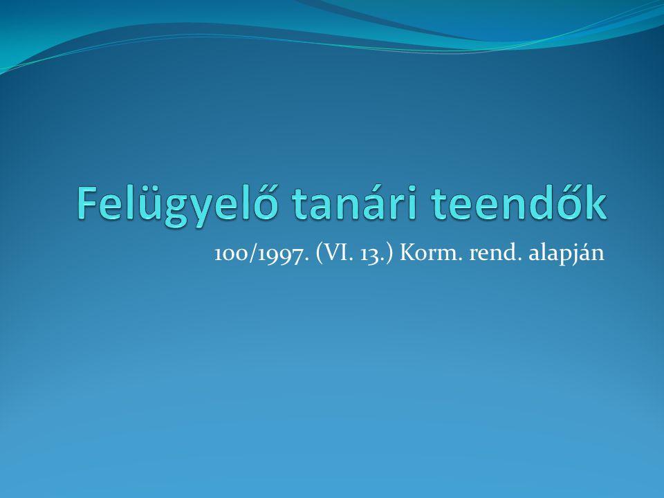 100/1997. (VI. 13.) Korm. rend. alapján