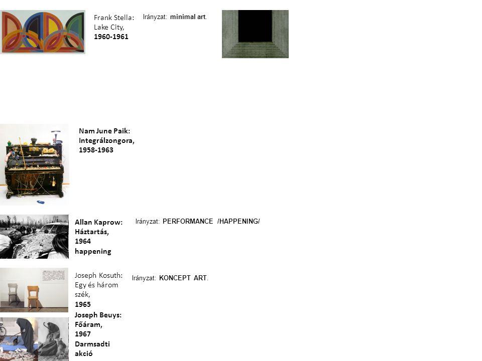 Nam June Paik: Integrálzongora, 1958-1963 Frank Stella: Lake City, 1960-1961 Allan Kaprow: Háztartás, 1964 happening Joseph Beuys: Főáram, 1967 Darmsa