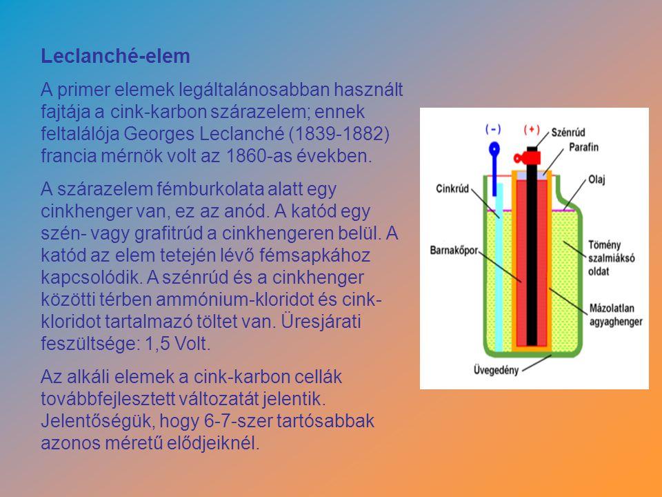 Leclanché-elem A primer elemek legáltalánosabban használt fajtája a cink-karbon szárazelem; ennek feltalálója Georges Leclanché (1839-1882) francia mérnök volt az 1860-as években.