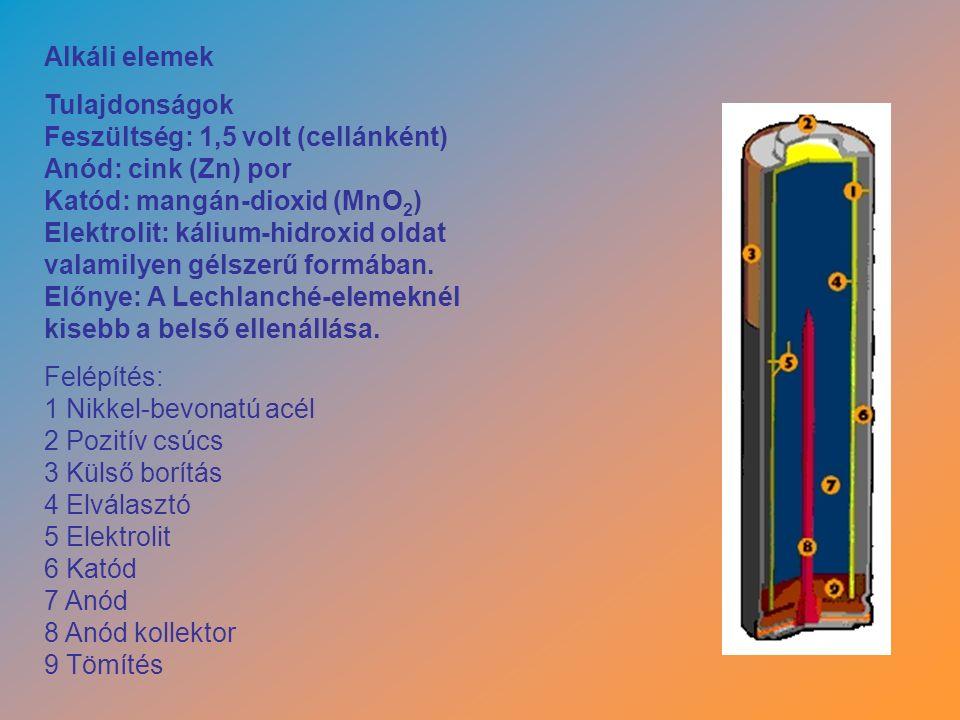 Alkáli elemek Tulajdonságok Feszültség: 1,5 volt (cellánként) Anód: cink (Zn) por Katód: mangán-dioxid (MnO 2 ) Elektrolit: kálium-hidroxid oldat valamilyen gélszerű formában.