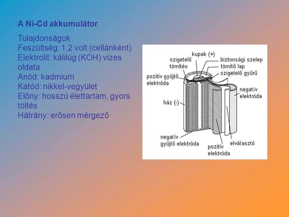 A Ni-Cd akkumulátor Tulajdonságok Feszültség: 1,2 volt (cellánként) Elektrolit: kálilúg (KOH) vizes oldata Anód: kadmium Katód: nikkel-vegyület Előny: hosszú élettartam, gyors töltés Hátrány: erősen mérgező