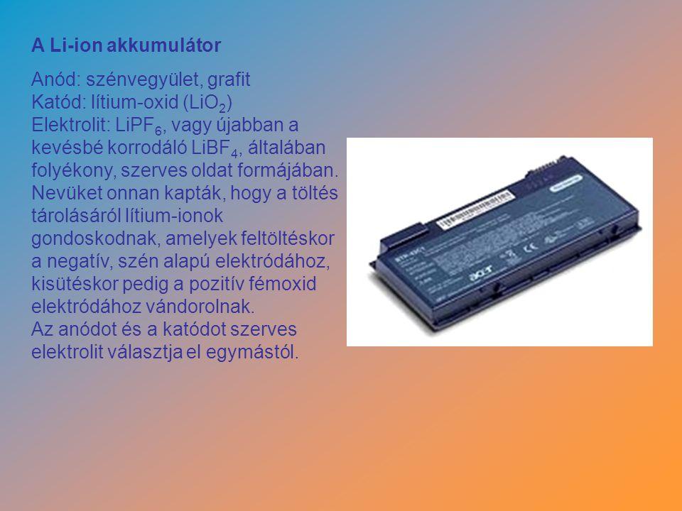 A Li-ion akkumulátor Anód: szénvegyület, grafit Katód: lítium-oxid (LiO 2 ) Elektrolit: LiPF 6, vagy újabban a kevésbé korrodáló LiBF 4, általában folyékony, szerves oldat formájában.