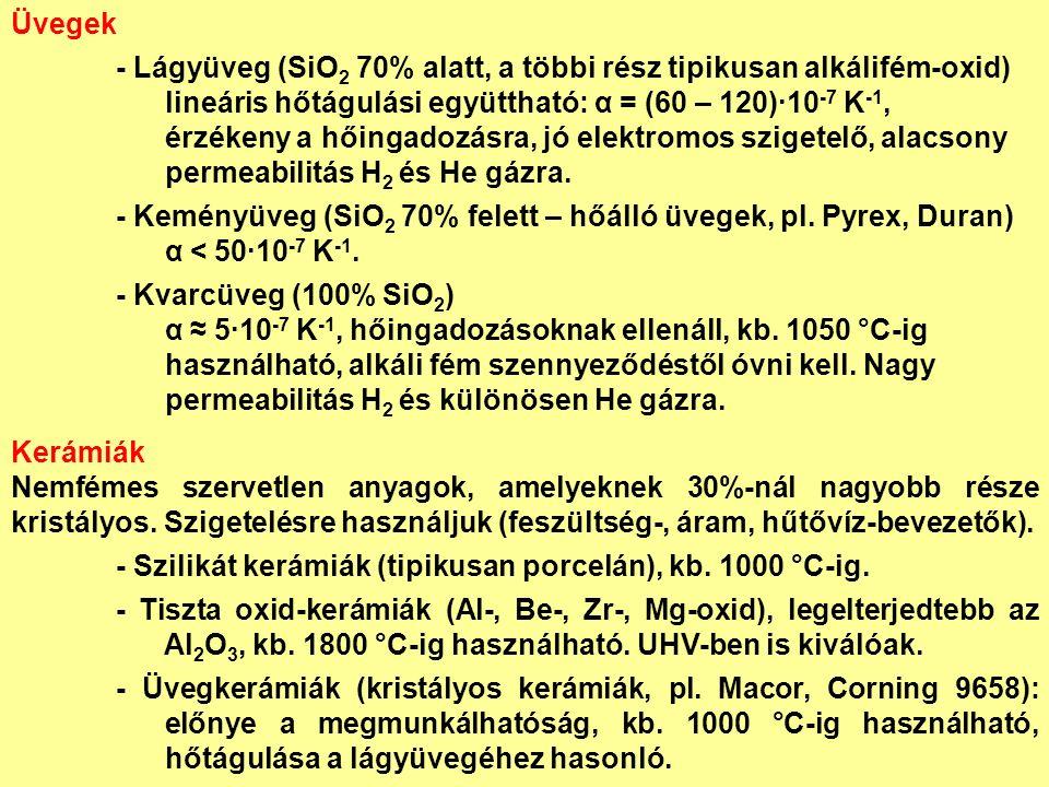 Üvegek - Lágyüveg (SiO 2 70% alatt, a többi rész tipikusan alkálifém-oxid) lineáris hőtágulási együttható: α = (60 – 120)∙10 -7 K -1, érzékeny a hőingadozásra, jó elektromos szigetelő, alacsony permeabilitás H 2 és He gázra.