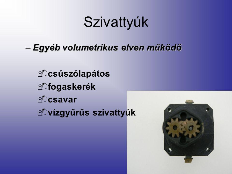 Szivattyúk Fő részei: –Vezetőkerék szivattyúházban áll Feladata: a járókerékből kilépő folyadék sebességének csökkentése, a folyadék nyomócsonkhoz (többlépcsős !)vezetése felületének kialakítása ütközésmentes áramlást biztosít anyaga alu, bronz, öntöttvas, acél, műanyag ötvözetei