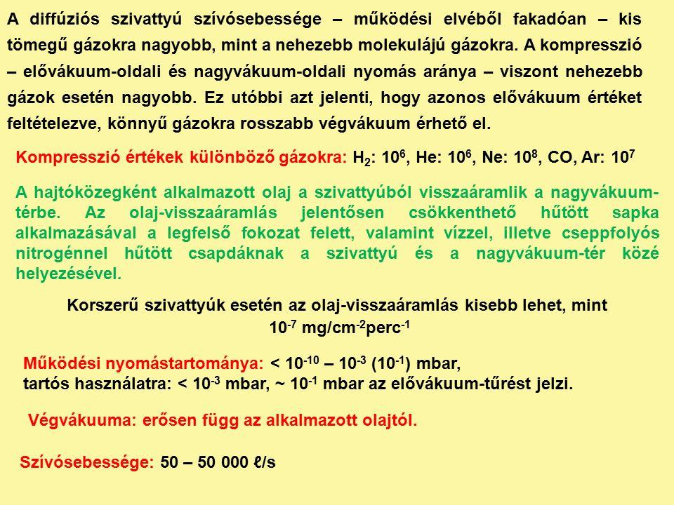 Kompresszió értékek különböző gázokra: H 2 : 10 6, He: 10 6, Ne: 10 8, CO, Ar: 10 7 A diffúziós szivattyú szívósebessége – működési elvéből fakadóan – kis tömegű gázokra nagyobb, mint a nehezebb molekulájú gázokra.