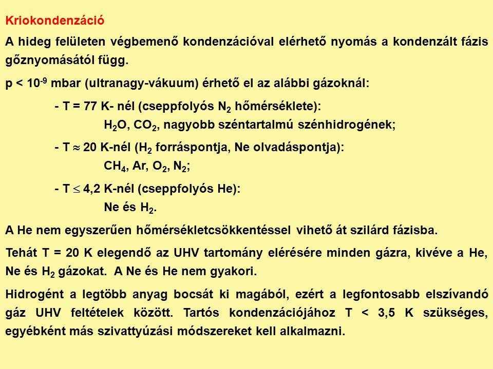 Kriokondenzáció A hideg felületen végbemenő kondenzációval elérhető nyomás a kondenzált fázis gőznyomásától függ.