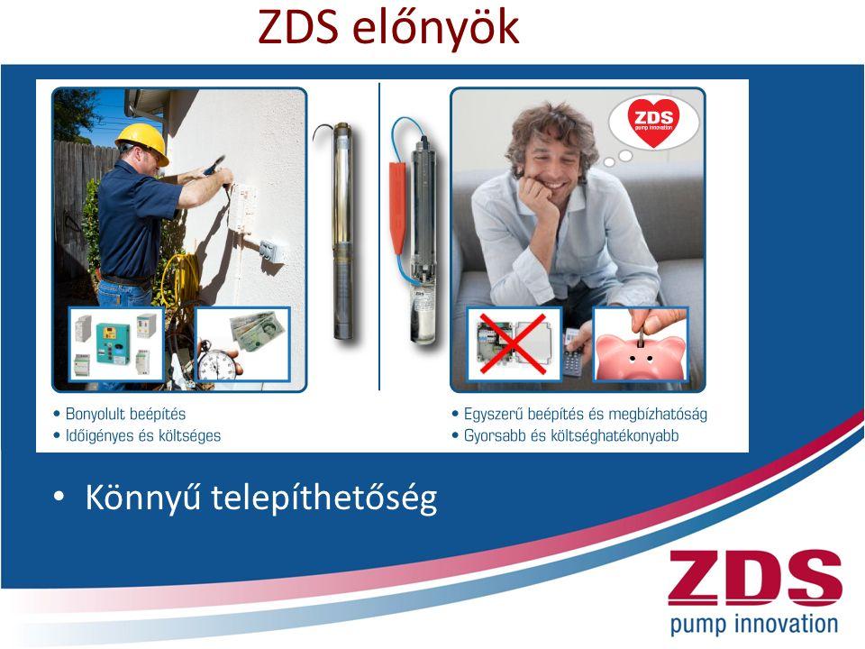 ZDS előnyök Könnyű telepíthetőség