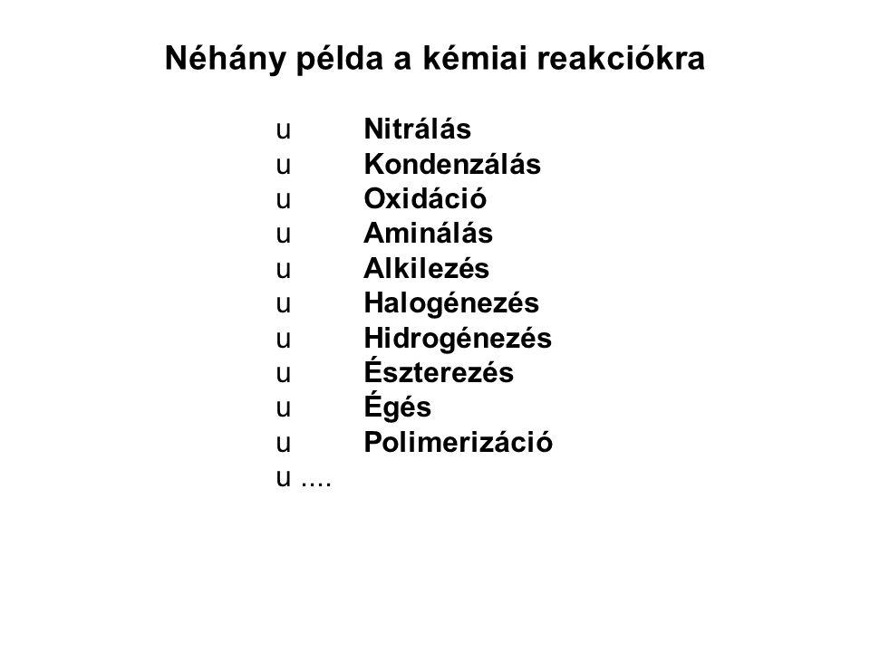 Néhány példa a kémiai reakciókra u Nitrálás u Kondenzálás u Oxidáció u Aminálás u Alkilezés u Halogénezés u Hidrogénezés u Észterezés u Égés u Polimerizáció u....