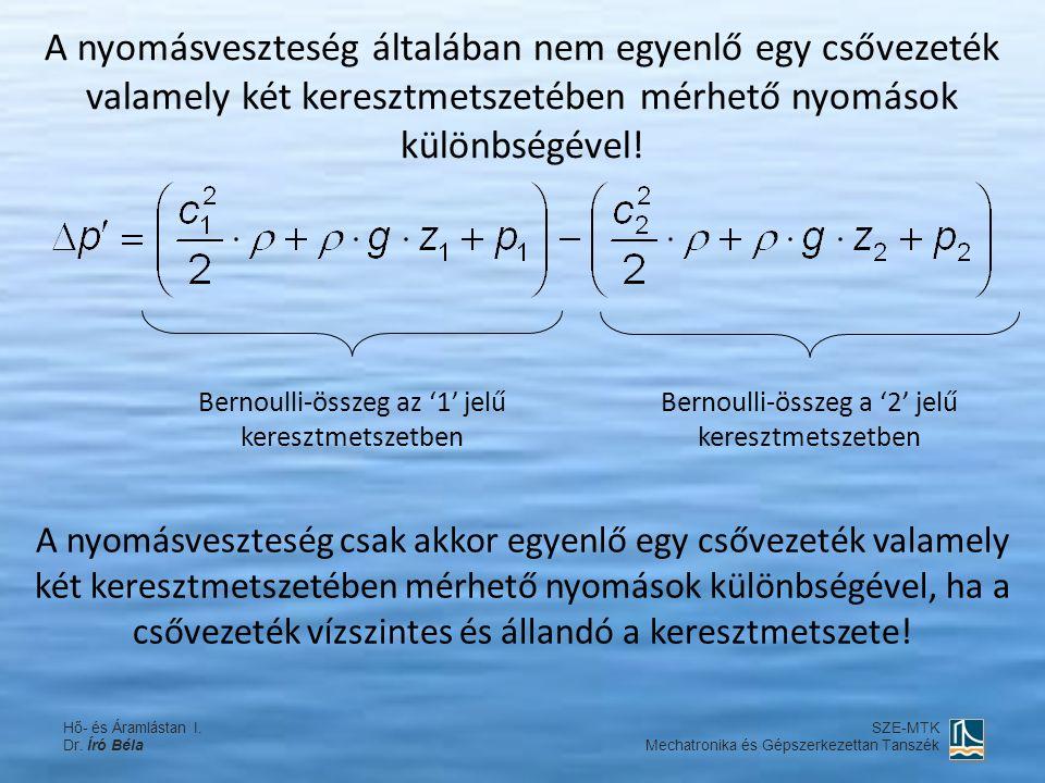 A nyomásveszteség általában nem egyenlő egy csővezeték valamely két keresztmetszetében mérhető nyomások különbségével! Bernoulli-összeg az '1' jelű ke