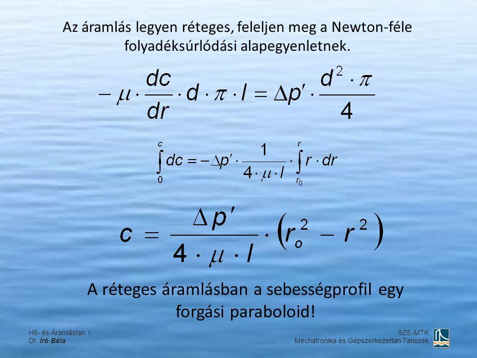 A réteges áramlásban a sebességprofil egy forgási paraboloid! Az áramlás legyen réteges, feleljen meg a Newton-féle folyadéksúrlódási alapegyenletnek.