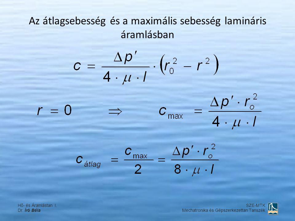 Az átlagsebesség és a maximális sebesség lamináris áramlásban Hő- és Áramlástan I.