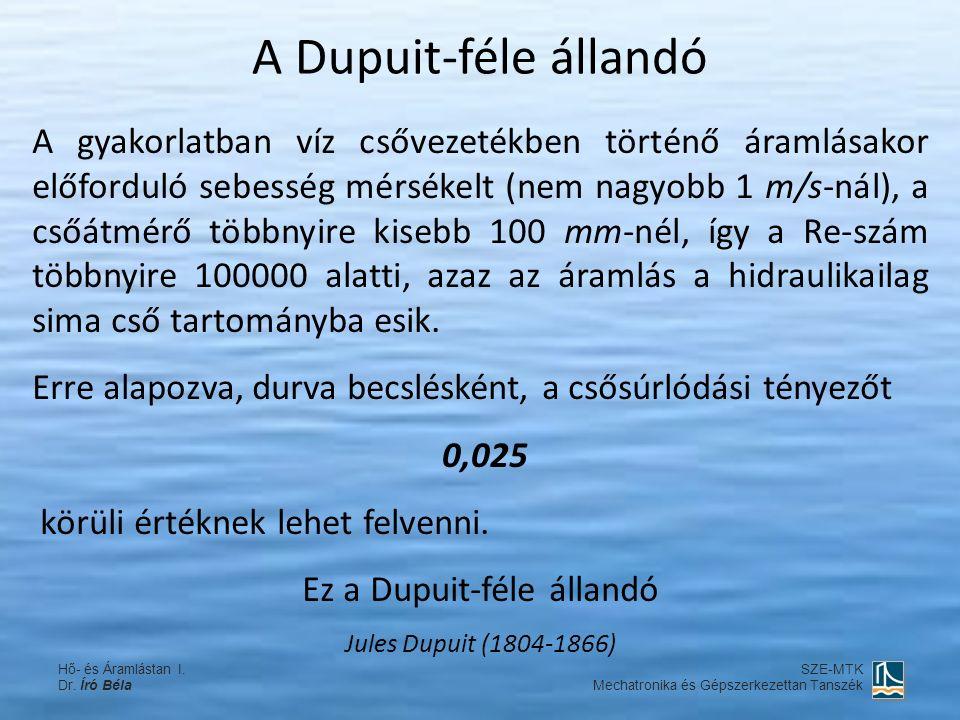 A Dupuit-féle állandó A gyakorlatban víz csővezetékben történő áramlásakor előforduló sebesség mérsékelt (nem nagyobb 1 m/s-nál), a csőátmérő többnyir