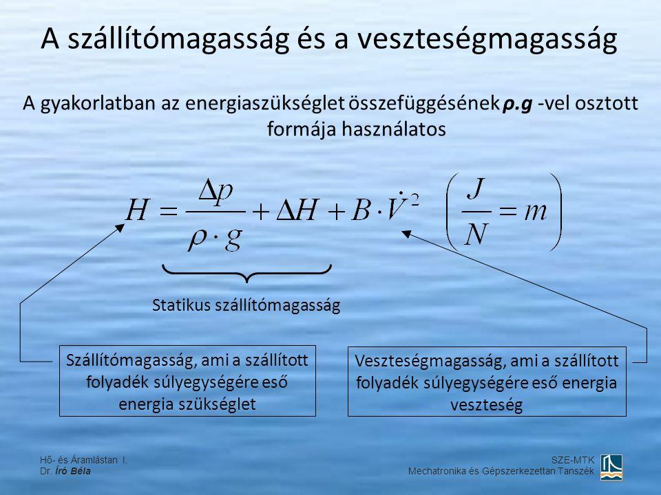 A szállítómagasság és a veszteségmagasság A gyakorlatban az energiaszükséglet összefüggésének ρ.g -vel osztott formája használatos Szállítómagasság, ami a szállított folyadék súlyegységére eső energia szükséglet Veszteségmagasság, ami a szállított folyadék súlyegységére eső energia veszteség Statikus szállítómagasság Hő- és Áramlástan I.