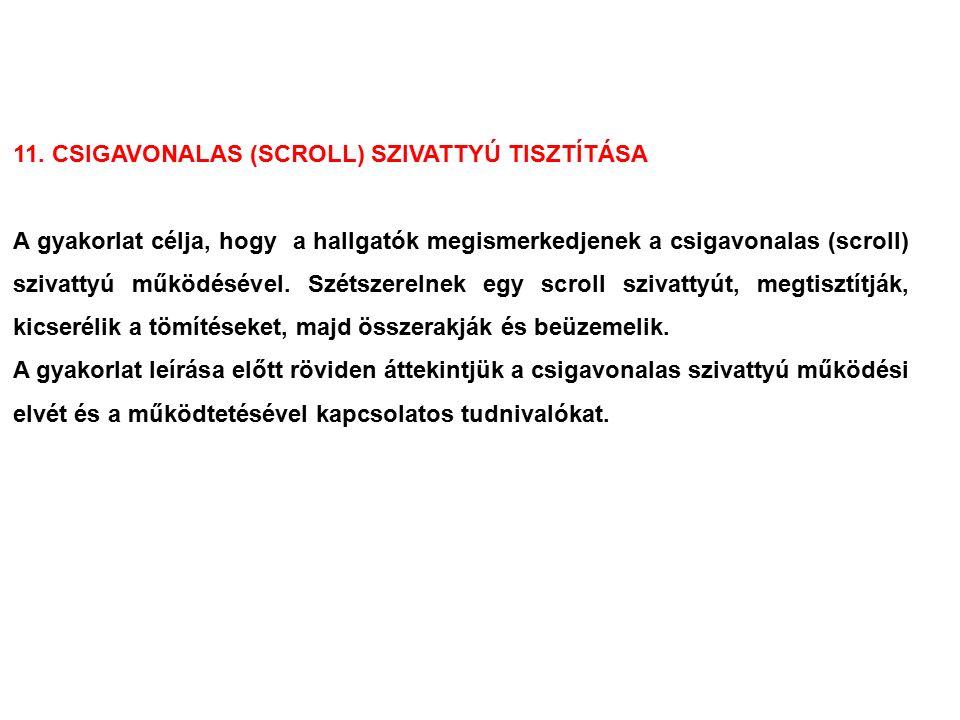11. CSIGAVONALAS (SCROLL) SZIVATTYÚ TISZTÍTÁSA A gyakorlat célja, hogy a hallgatók megismerkedjenek a csigavonalas (scroll) szivattyú működésével. Szé