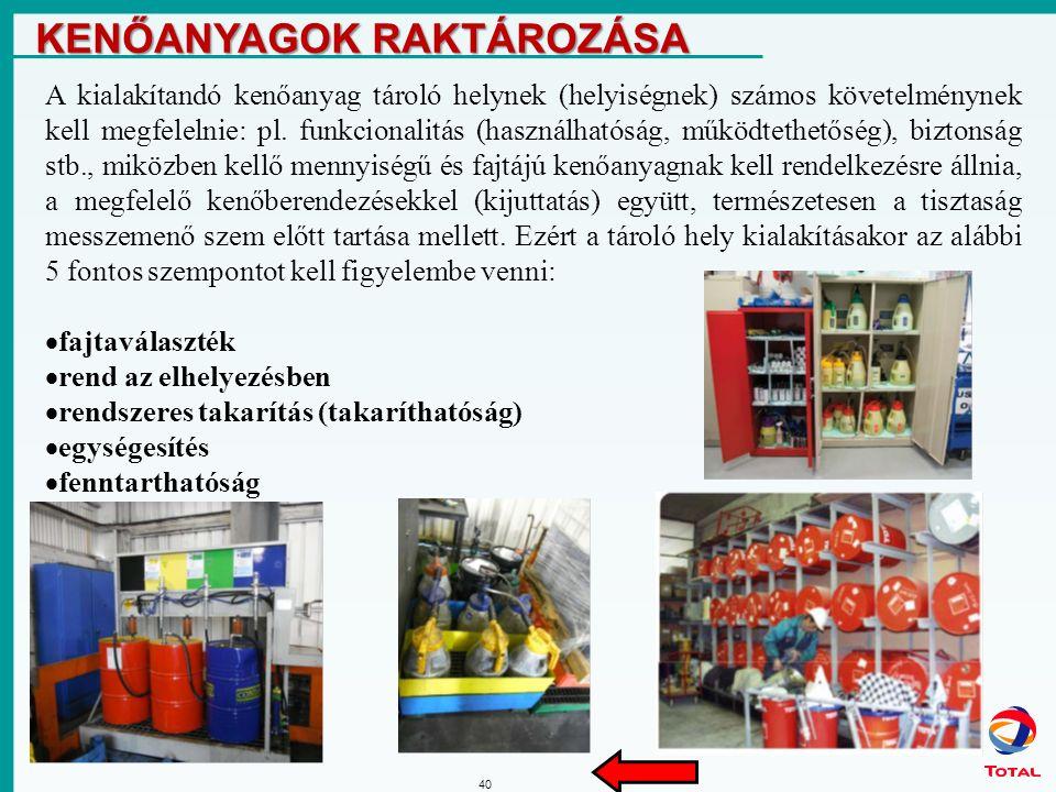 40 KENŐANYAGOK RAKTÁROZÁSA A kialakítandó kenőanyag tároló helynek (helyiségnek) számos követelménynek kell megfelelnie: pl.