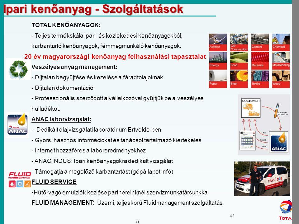 41 TOTAL KENŐANYAGOK: - Teljes termékskála ipari és közlekedési kenőanyagokból, karbantartó kenőanyagok, fémmegmunkáló kenőanyagok.