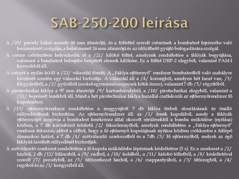 A SzA8-250-200 többfáklyás, 250 kg űrméretű, 200 kg tömegű, világító repülőbomba rendeltetése a terep megvilágítása vizuális légi felderítéshez és az éjszakai célzott bombavetés biztosításához.