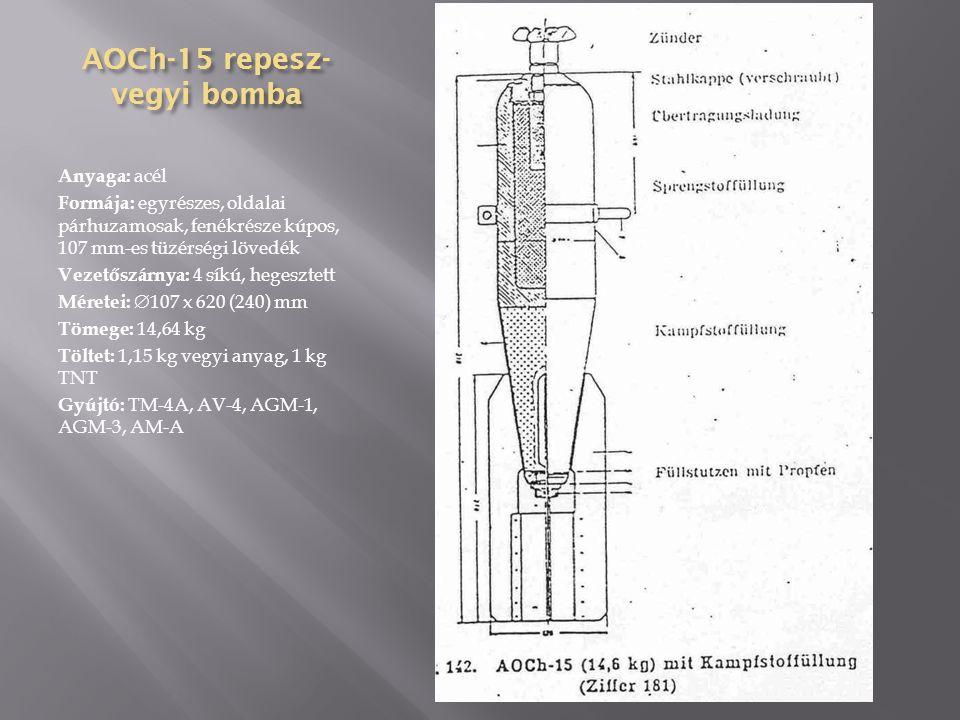 AO-100 repeszbomba 1-gyújtófészek, 2-bombafej, 3-töltet, 4-vasalás, 5-függesztőszem, 6- szállítógyűrű, 7-bombatest, 8-gyújtófészek, 9-bombafenék, 10-zárófedél, 11- vezetőszárny merevítése, 12-vezetőszárny Anyaga: vasbeton, a fejrész és a fenék acél Formája: kétrészes, oldalai párhuzamosak, fenékrésze kúpos Vezetőszárnya: 4 síkú Méretei:  280 x 1080 (770) mm Tömege: 100 kg Töltet: 49,8 kg TNT vagy 55 kg amatol Gyújtó: APUV, APUV-1, APUVM