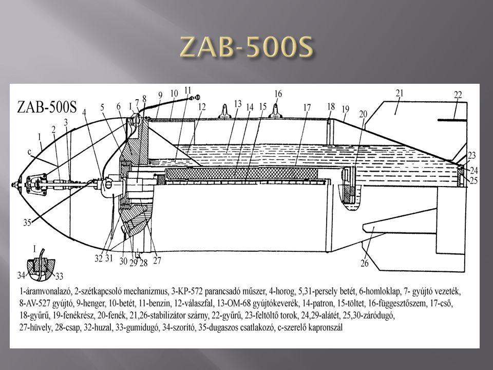 A ZAB-100-105 gyújtóbomba (űrmérete 100 kg) rendeltetése a településen lévő építmények, üzemanyag- és lőszerraktárak, nyersolaj-tárolók, vasútállomások és egyéb, ezekhez hasonló célobjektumok tűzzel való megsemmisítése.