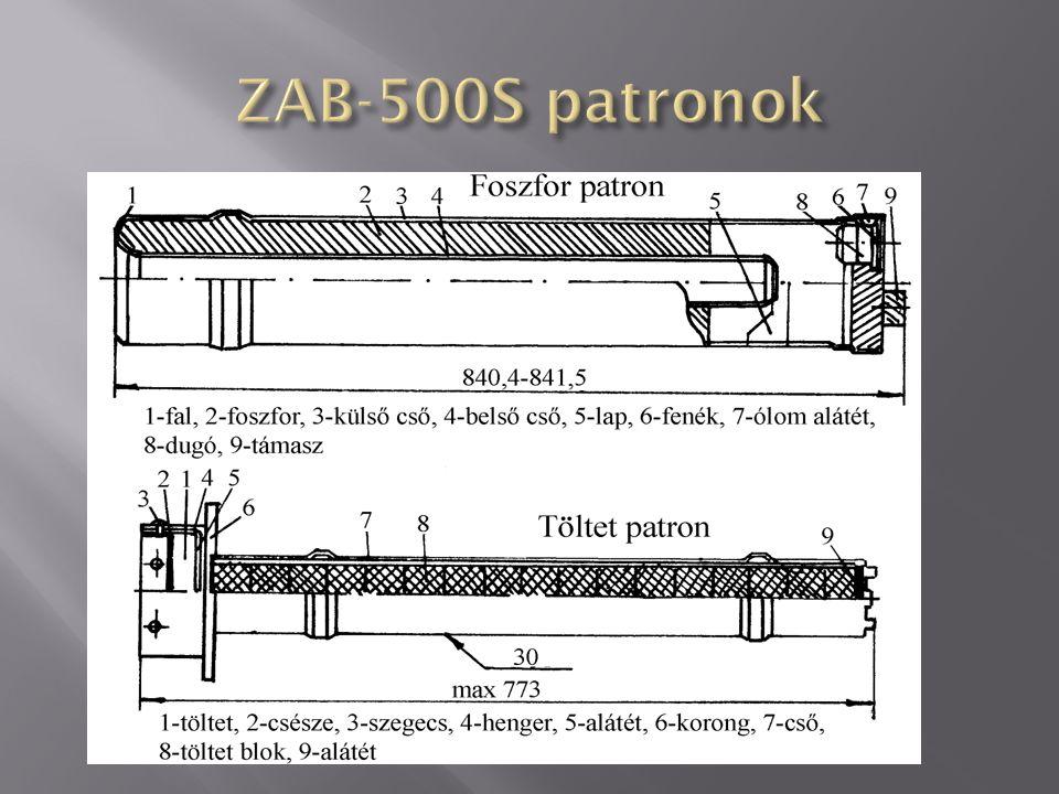átmérője: 450 mm OM-68 gyújtókeverék tömege: 195 kg benzin tömege: 5,8 kg patron tömege: 17,2 kg foszfor tömege: 9,1 kg töltet tömege: 1,851 kg robbanóanyag tömege: 0,606 kg áramvonalazó tömege: 7,15 kg szétkapcsoló mechanizmus tömege: 2,373 kg színe: szürke