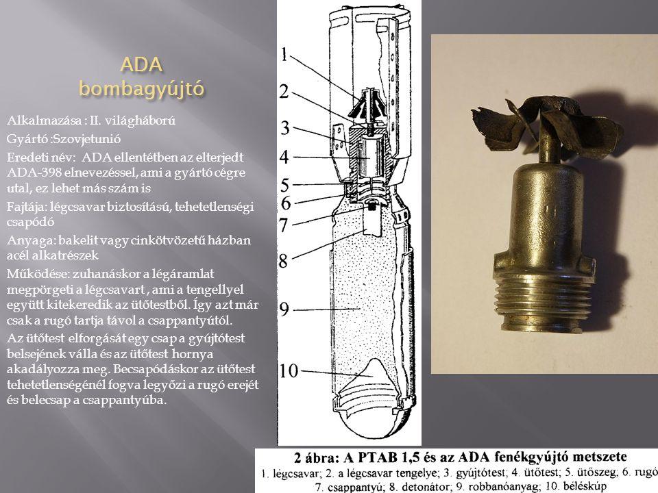 AM-A bombagyújtó 1-légcsavar 2-membrán 3-ütöszeg 4-csappantyú Alkalmazás: I I.v.h.