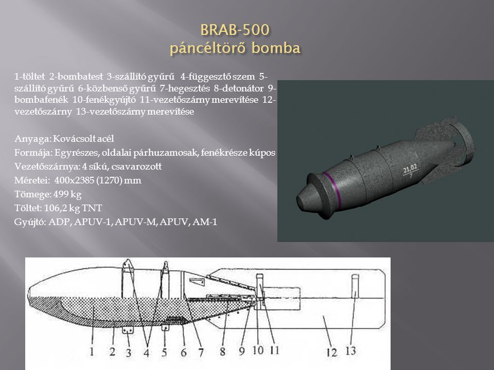 BRAB-200 DS páncéltör ő bomba rakéta hajtóm ű vel Anyaga: acél Formája: egyrészes, oldalai párhuzamosak, fenékrésze kúpos Vezetőszárnya: 4 síkú, hegesztett Méretei:  203 x 2060 (860) mm Tömege: 213 kg Töltet: 12,2 kg TNT, 19,2 kg nitrocellulóz pór (rakétahajtómű) Gyújtó: TM-4B, TM-24B, RD Színe: szürke, kék gyűrű a fején, fekete gyűrű a testen