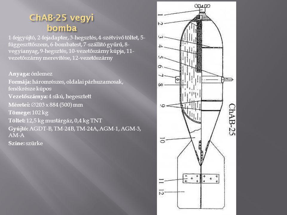 BRAB-500 páncéltör ő bomba 1-töltet 2-bombatest 3-szállító gyűrű 4-függesztő szem 5- szállító gyűrű 6-közbenső gyűrű 7-hegesztés 8-detonátor 9- bombafenék 10-fenékgyújtó 11-vezetőszárny merevítése 12- vezetőszárny 13-vezetőszárny merevítése Anyaga: Kovácsolt acél Formája: Egyrészes, oldalai párhuzamosak, fenékrésze kúpos Vezetőszárnya: 4 síkú, csavarozott Méretei: 400x2385 (1270) mm Tömege: 499 kg Töltet: 106,2 kg TNT Gyújtó: ADP, APUV-1, APUV-M, APUV, AM-1