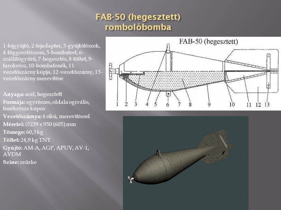 ChAB-200 vegyi bomba 1-fejgyújtó, 2-fejadapter, 3-szétvivő töltet, 4-hegesztés, 5- bombatest, 6-vegyianyag, 7-szállító gyűrű, 8- függesztőszem, 9-szállító gyűrű, 10-hegsztés, 11- bombafenék, 12-vezetőszárny merevítése, 13-vezetőszárny kúpja, 14-vezetőszárny, 15-vezetőszárny merevítése Anyaga: acéllemez Formája: egyrészes, oldalai párhuzamosak, fenékrésze kúpos Vezetőszárnya: 4 síkú, hegesztett Méretei:  320 x 2160 (1650) mm Tömege: 175 kg, 163,5 kg Töltet: 80 kg foszgén, mustárgáz, 1,13 kg TNT, 80 kg mustárgáz, 1,13 kg TNT Gyújtó: TM-4B, TM-24B, AM-A, AGM-1, AGM-3, AGDT- 4A, TM-4A, TM-24A Színe: szürke,
