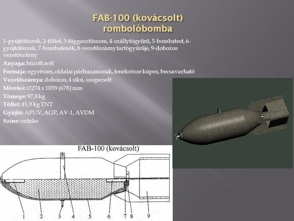 FAB-100 (hegesztett) rombolóbomba 1-fejgyújtó, 2-fejadapter, 3-fejrész, 4-függszetőszem, 5-hegesztés, 6- bombatest, 7-szállítógyűrű, 8-töltet, 9-hegsztés, 10-farokrész, 11-fenékgyújtó, 12-vezetőszárny kitörés, 13-dobozos vezetőszárny Anyaga: acél, hegesztett Formája: háromrészes, oldalai párhuzamosak, fenékrésze kúpos, becsavarható Vezetőszárnya: dobozos, 4 síkú Méretei:  279 x 1049 (686) mm Tömege: 99,7 kg Töltet: 31,9 kg TNT Gyújtó: AM-A, APUV, AGP, AV-1, AVDM Színe: szürke