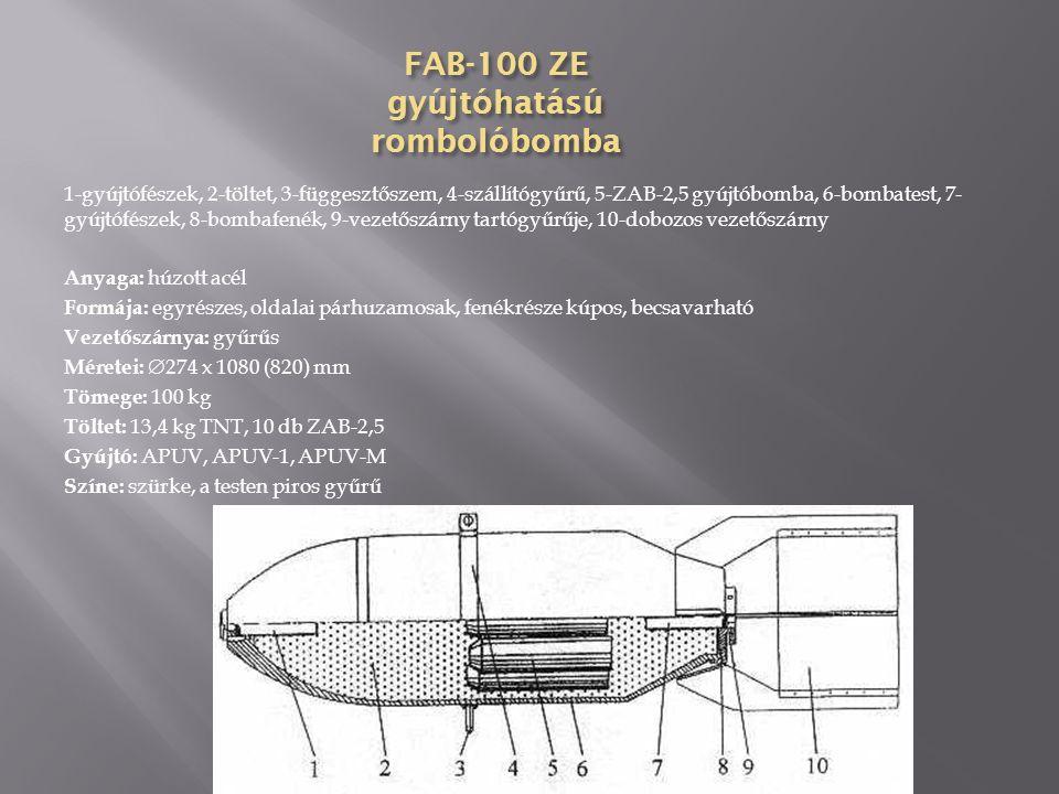 FAB-100 (kovácsolt) rombolóbomba 1-gyújtófészek, 2-töltet, 3-függesztőszem, 4-szállytógyűrű, 5-bombatest, 6- gyújtófészek, 7-bombafenék, 8-vezetőszárny tartógyűrűje, 9-dobozos vezetőszárny Anyaga: húzott acél Formája: egyrészes, oldalai párhuzamosak, fenékrésze kúpos, becsavarható Vezetőszárnya: dobozos, 4 síkú, szegecselt Méretei:  274 x 1059 (678) mm Tömege: 97,8 kg Töltet: 45,9 kg TNT Gyújtó: APUV, AGP, AV-1, AVDM Színe: szürke