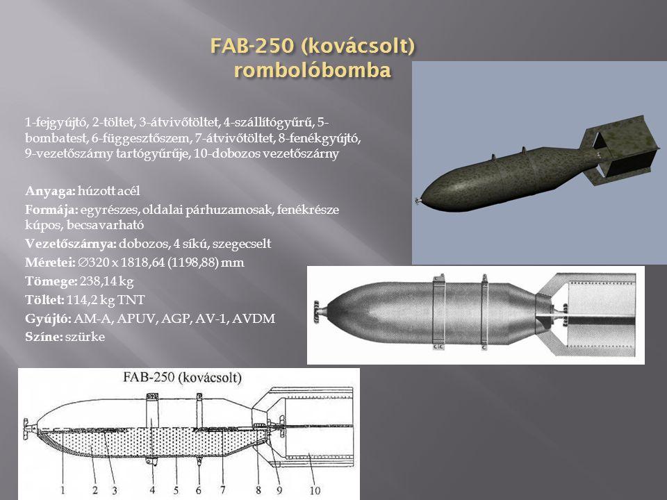 FAB-100 ZE gyújtóhatású rombolóbomba 1-gyújtófészek, 2-töltet, 3-függesztőszem, 4-szállítógyűrű, 5-ZAB-2,5 gyújtóbomba, 6-bombatest, 7- gyújtófészek, 8-bombafenék, 9-vezetőszárny tartógyűrűje, 10-dobozos vezetőszárny Anyaga: húzott acél Formája: egyrészes, oldalai párhuzamosak, fenékrésze kúpos, becsavarható Vezetőszárnya: gyűrűs Méretei:  274 x 1080 (820) mm Tömege: 100 kg Töltet: 13,4 kg TNT, 10 db ZAB-2,5 Gyújtó: APUV, APUV-1, APUV-M Színe: szürke, a testen piros gyűrű