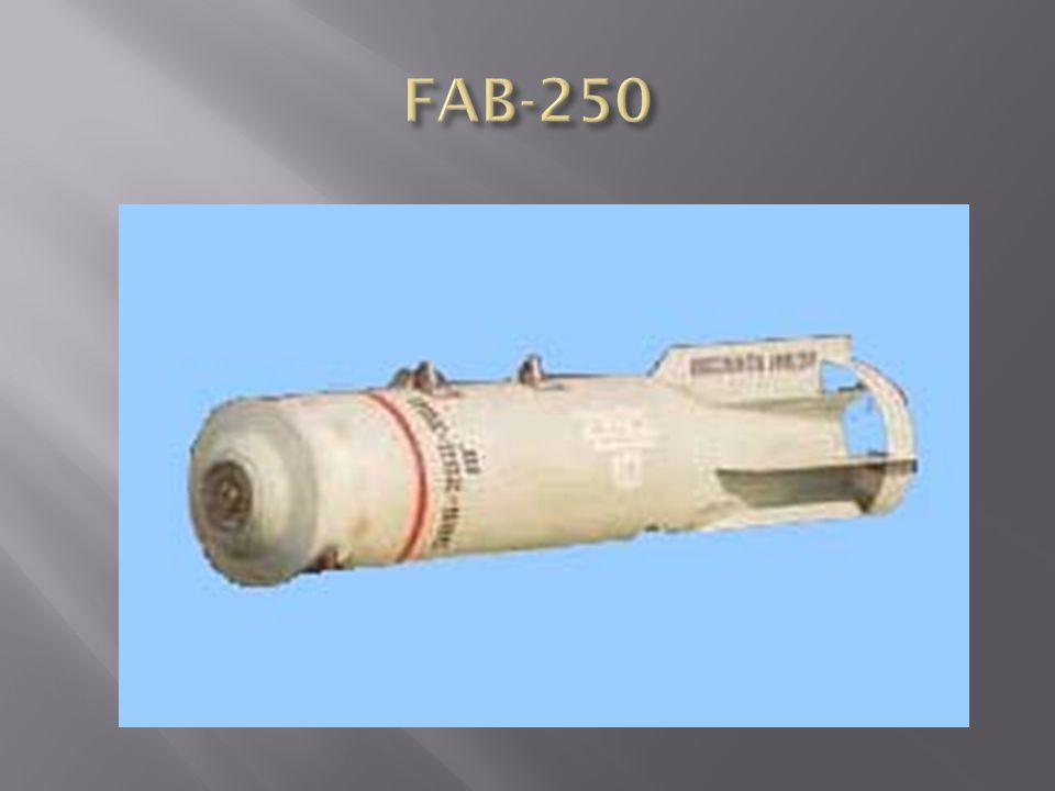 FAB-250 TS rombolóbomba 1-fejgyűrű, 2-bombatest, 3-függesztőszem, 4-töltet, 5- hegesztés, 6-farokrész, 7-bombafenék, 8-belső fészek, 9- vezetőszárny, 10-vezetőszárny gyűrűje Anyaga: öntött acél Formája: egyrészes, oldalai párhuzamosak, fenékrésze kúpos Vezetőszárnya: dupla gyűrűs Méretei:  300 x 1500 (1180) mm Tömege: 260,1 kg Töltet: 61,4 kg TNT Gyújtó: APUV, AGP, AV-1, Színe: szürke