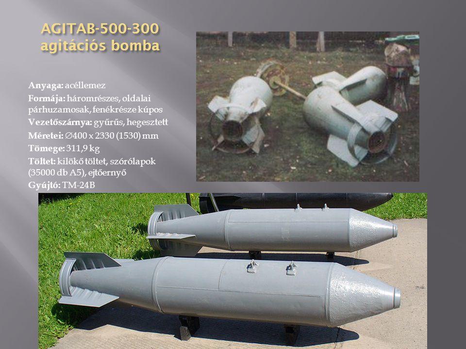 AGITAB-250-85 agitációs bomba Anyaga: acéllemez Formája: háromrészes, oldalai párhuzamosak, fenékrésze kúpos Vezetőszárnya: gyűrűs, hegesztett Méretei:  325 x 1485 (938) mm Tömege: 93,5 kg Töltet: kilökő töltet, szórólapok (22500 db A5) Gyújtó: TM-24B