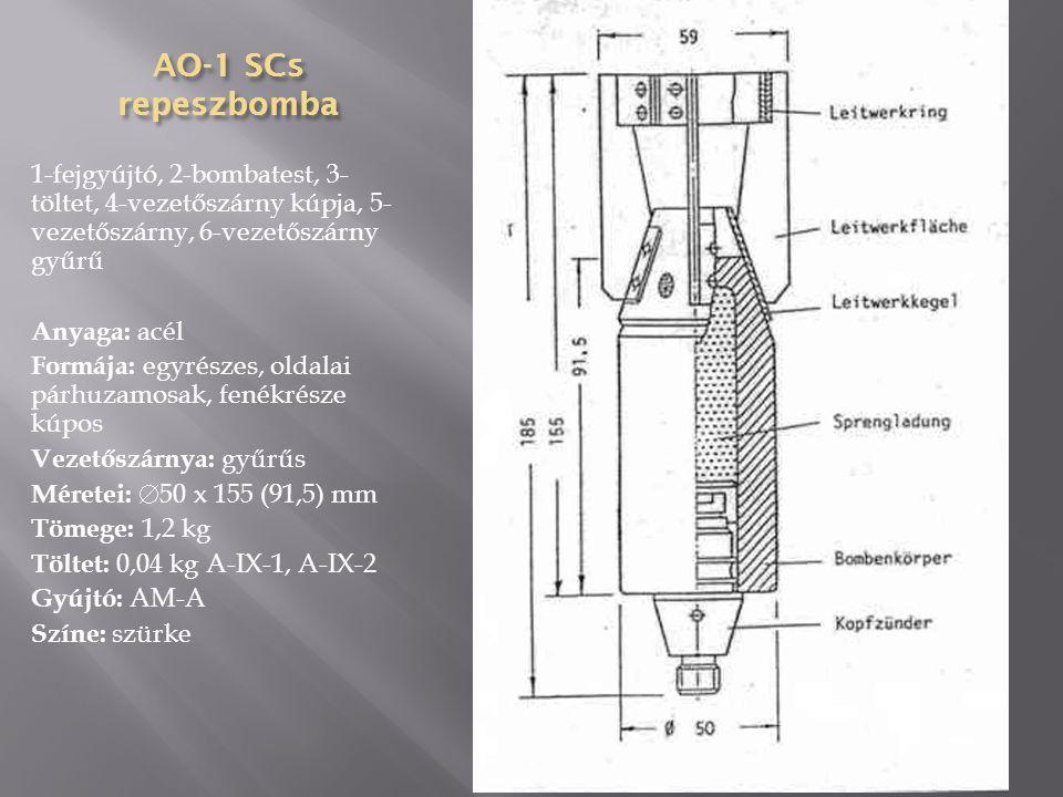 AGITAB-500-300 agitációs bomba Anyaga: acéllemez Formája: háromrészes, oldalai párhuzamosak, fenékrésze kúpos Vezetőszárnya: gyűrűs, hegesztett Méretei:  400 x 2330 (1530) mm Tömege: 311,9 kg Töltet: kilökő töltet, szórólapok (35000 db A5), ejtőernyő Gyújtó: TM-24B
