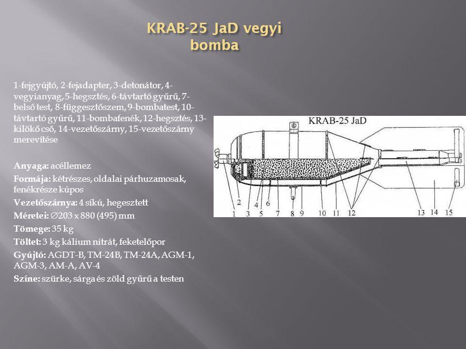 FOTAB-35 villanóbomba 1-fejgyújtó, 2-fejadapter, 3-átvivő töltet, 4- hegesztés, 5-függesztőszem, 6-bombatest, 7-szállító gyűrű, 8-villanópor, 9-hegesztés, 10-bombafenék, 11-adaptergyűrű, 12- vezetőszárny, 13-fékezőernyő, 14- vezetőszárny merevítése Anyaga: acéllemez Formája: háromrészes, oldalai párhuzamosak, fenékrésze kúpos Vezetőszárnya: 4 síkú, hegesztett Méretei:  203 x 914 (693) mm Tömege: 34,93 kg Töltet: 19,96 kg villanópor Gyújtó: AGDT-B, GDT-A, TM-24A, TM-4A